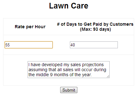 Example Financial Projection for a Lawn Care Business and Other Seasonal Businesses