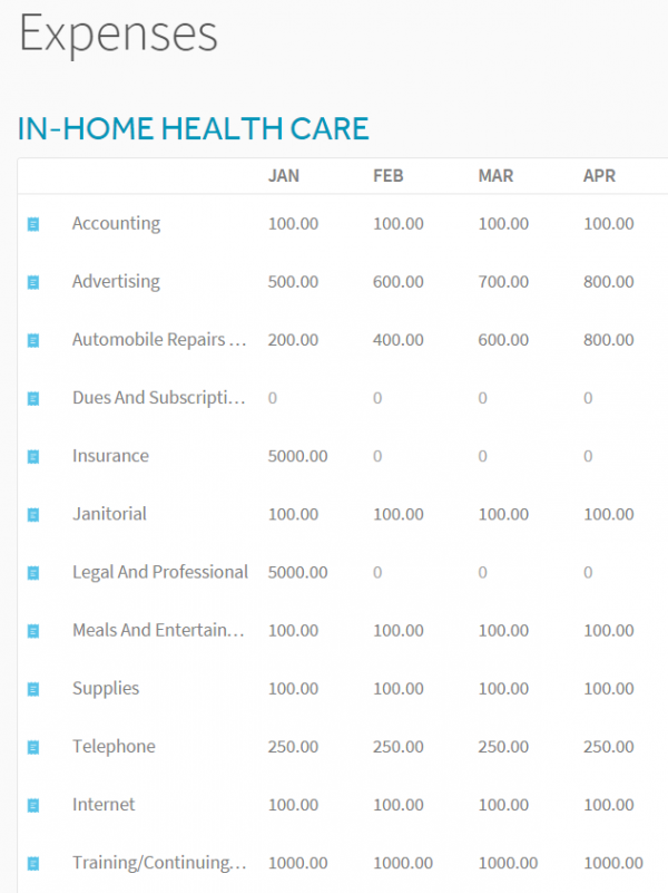 In Home Health Care Expenses