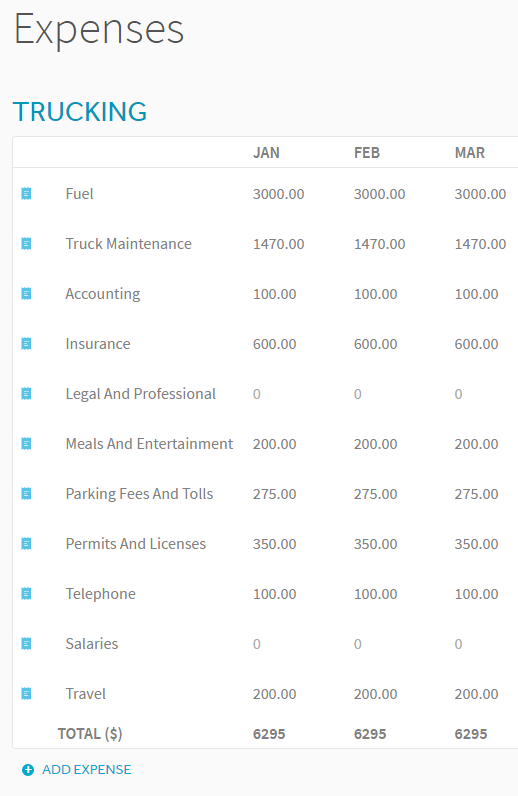 Profit And Loss Statement For Trucking Company  Business Profit Loss Statement